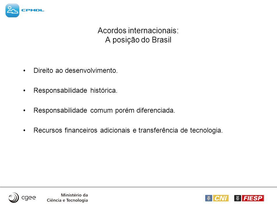 Acordos internacionais: A posição do Brasil Direito ao desenvolvimento. Responsabilidade histórica. Responsabilidade comum porém diferenciada. Recurso