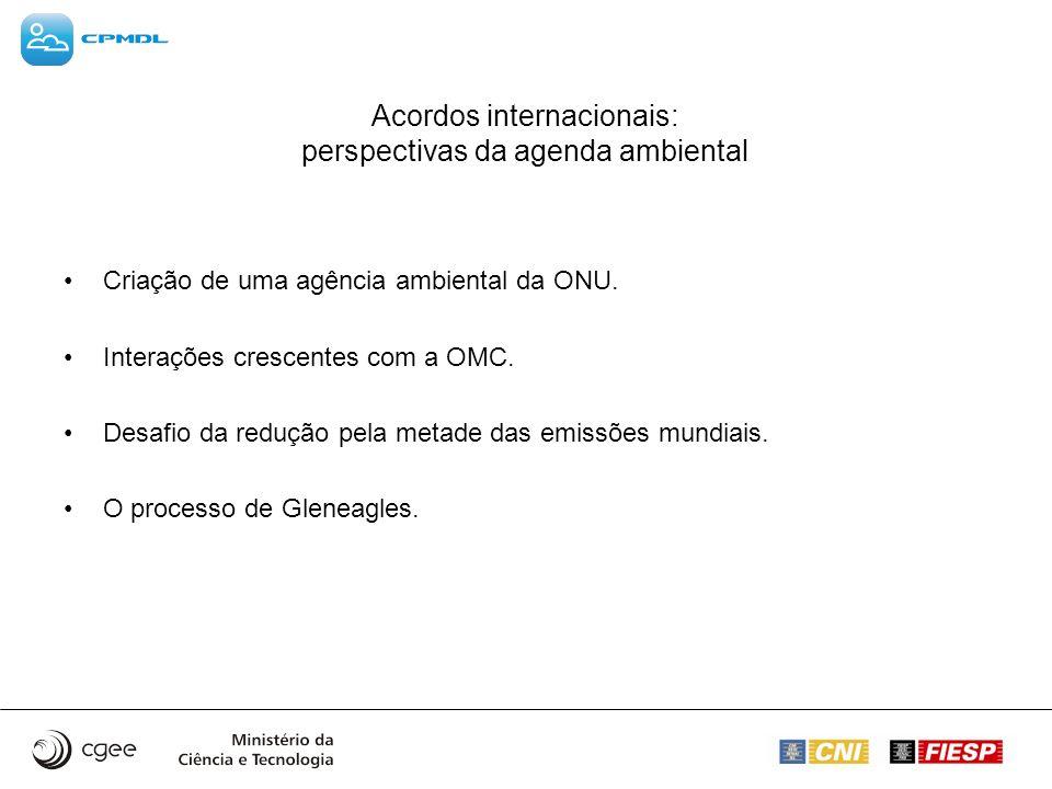 Acordos internacionais: perspectivas da agenda ambiental Criação de uma agência ambiental da ONU. Interações crescentes com a OMC. Desafio da redução