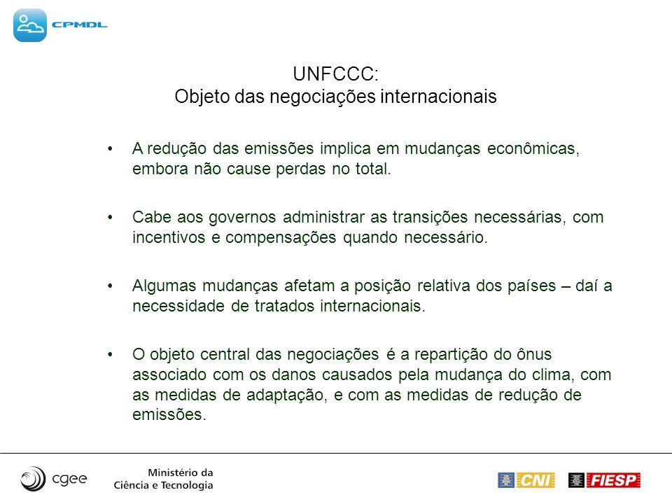 UNFCCC: Objeto das negociações internacionais A redução das emissões implica em mudanças econômicas, embora não cause perdas no total. Cabe aos govern