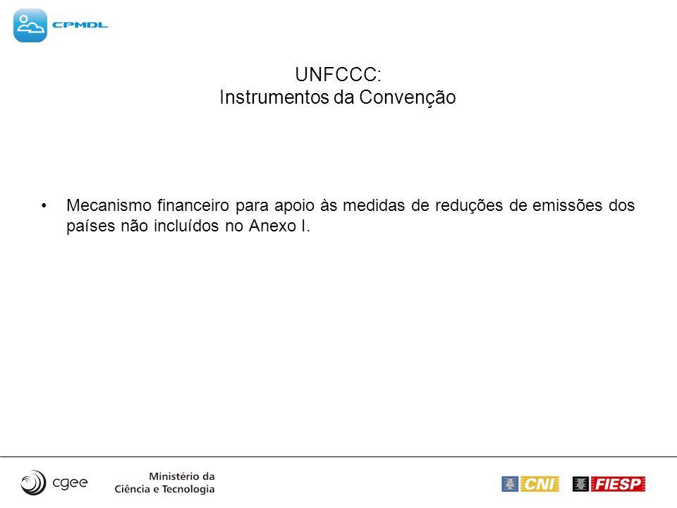 UNFCCC: Instrumentos da Convenção Mecanismo financeiro para apoio às medidas de reduções de emissões dos países não incluídos no Anexo I.