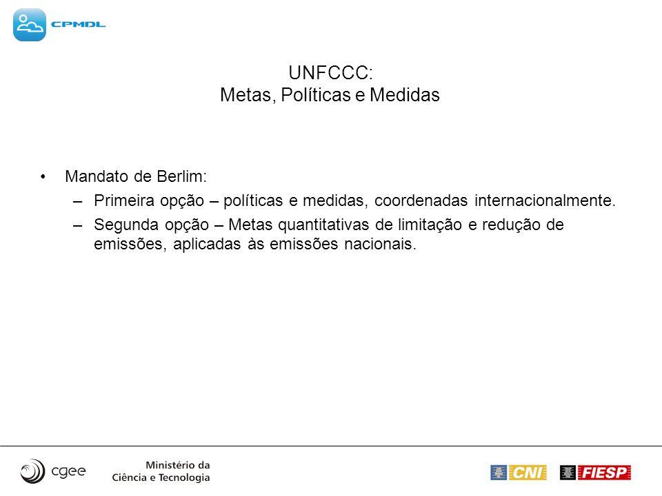 UNFCCC: Metas, Políticas e Medidas Mandato de Berlim: –Primeira opção – políticas e medidas, coordenadas internacionalmente. –Segunda opção – Metas qu