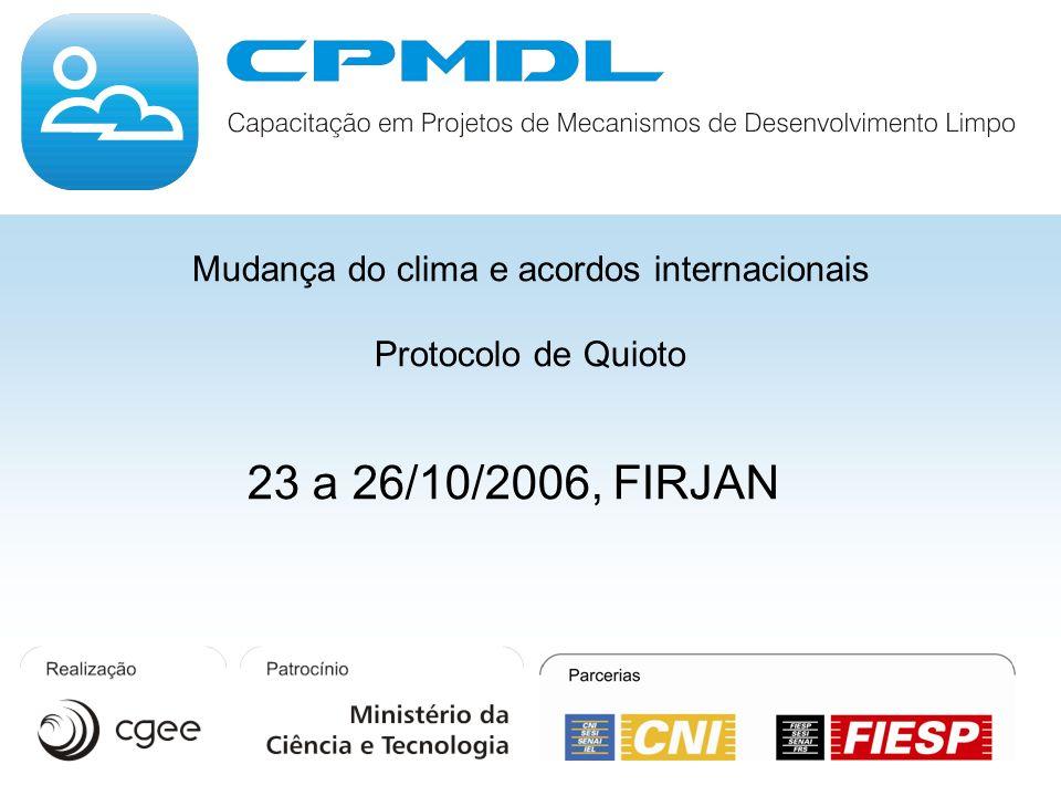 Mudança do clima e acordos internacionais Protocolo de Quioto 23 a 26/10/2006, FIRJAN