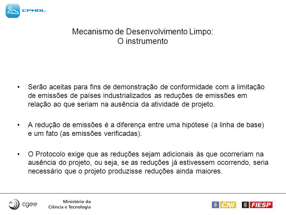 Mecanismo de Desenvolvimento Limpo: O instrumento Serão aceitas para fins de demonstração de conformidade com a limitação de emissões de países indust