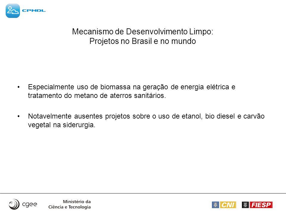 Mecanismo de Desenvolvimento Limpo: Projetos no Brasil e no mundo Especialmente uso de biomassa na geração de energia elétrica e tratamento do metano