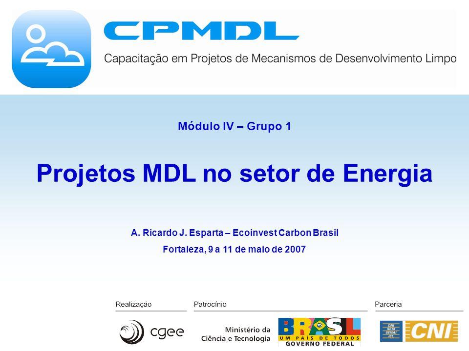Projetos MDL no setor de Energia A. Ricardo J. Esparta – Ecoinvest Carbon Brasil Fortaleza, 9 a 11 de maio de 2007 Módulo IV – Grupo 1