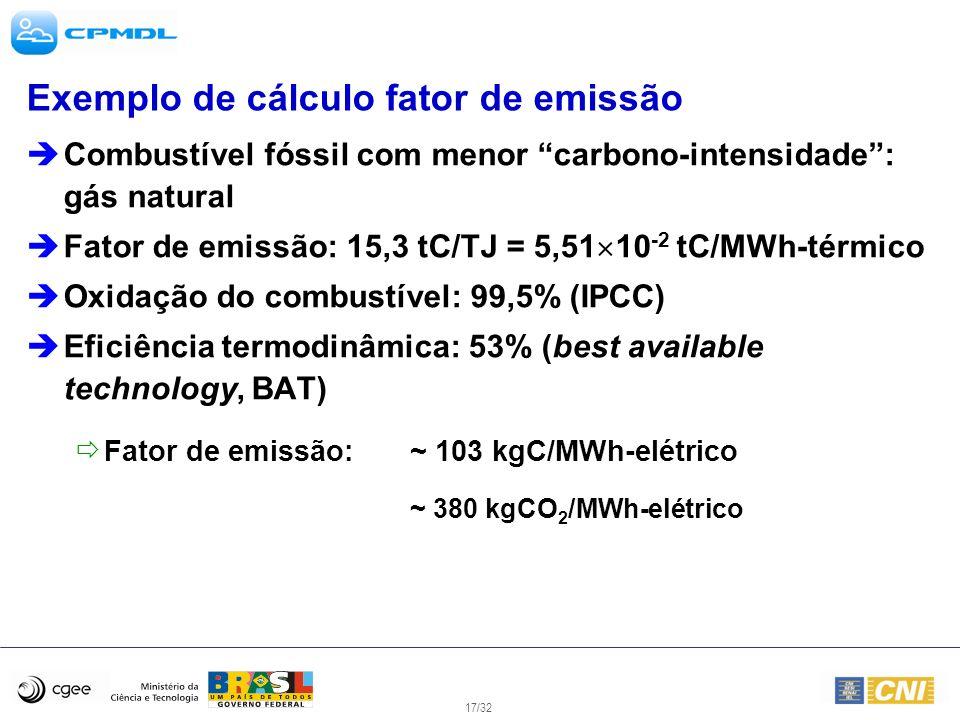 17/32 Exemplo de cálculo fator de emissão Combustível fóssil com menor carbono-intensidade: gás natural Fator de emissão: 15,3 tC/TJ = 5,51 10 -2 tC/M