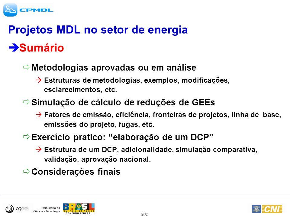 2/32 Projetos MDL no setor de energia Sumário Metodologias aprovadas ou em análise Estruturas de metodologias, exemplos, modificações, esclarecimentos