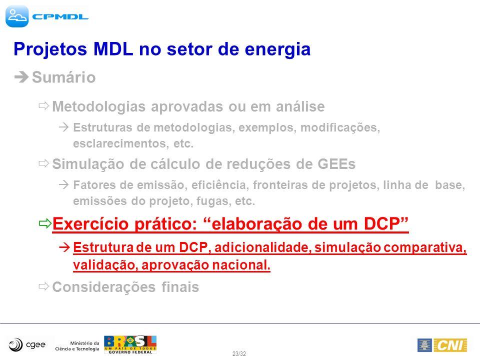 23/32 Projetos MDL no setor de energia Sumário Metodologias aprovadas ou em análise Estruturas de metodologias, exemplos, modificações, esclarecimento