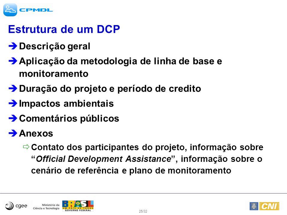 25/32 Estrutura de um DCP Descrição geral Aplicação da metodologia de linha de base e monitoramento Duração do projeto e período de credito Impactos a