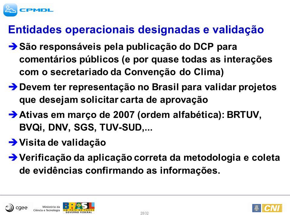 28/32 Entidades operacionais designadas e validação São responsáveis pela publicação do DCP para comentários públicos (e por quase todas as interações