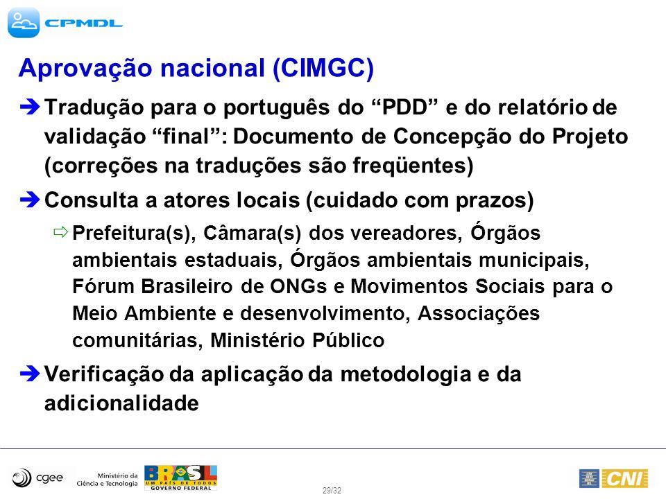 29/32 Aprovação nacional (CIMGC) Tradução para o português do PDD e do relatório de validação final: Documento de Concepção do Projeto (correções na t