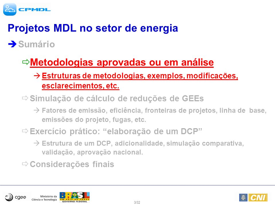 14/32 Projetos MDL no setor de energia Sumário Metodologias aprovadas ou em análise Estruturas de metodologias, exemplos, modificações, esclarecimentos, etc.