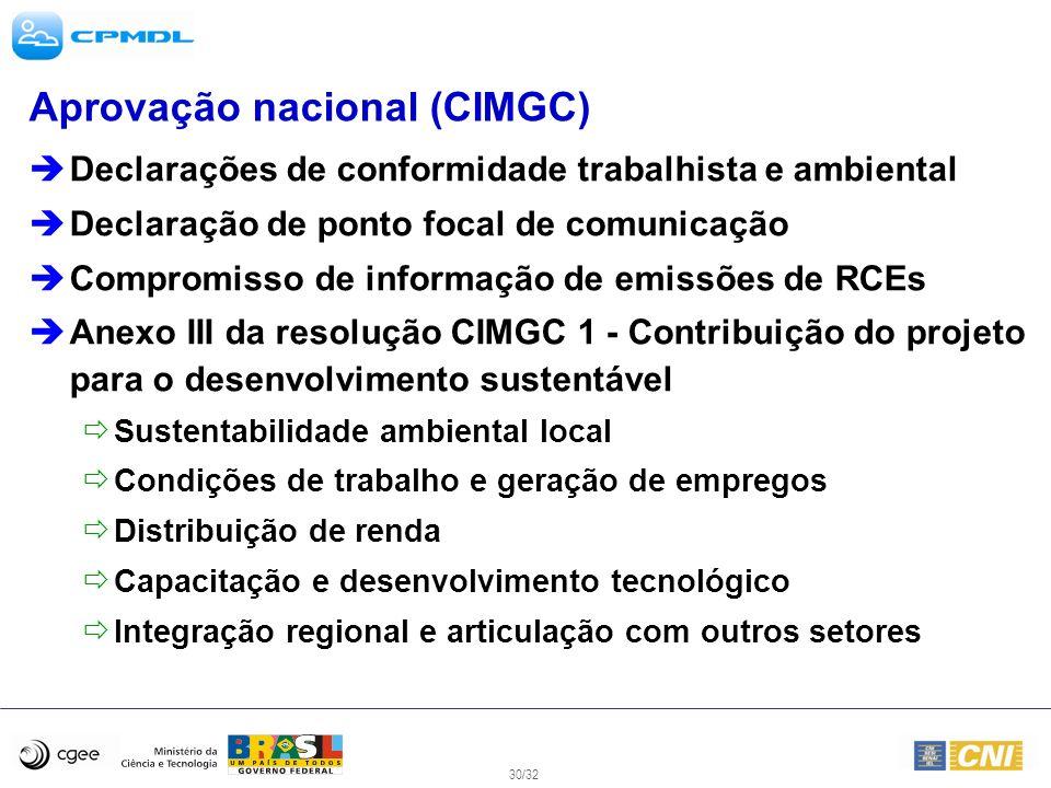 30/32 Aprovação nacional (CIMGC) Declarações de conformidade trabalhista e ambiental Declaração de ponto focal de comunicação Compromisso de informaçã