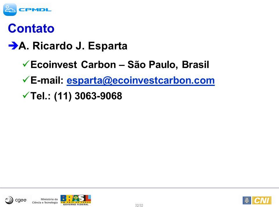 32/32 Contato A. Ricardo J. Esparta Ecoinvest Carbon – São Paulo, Brasil E-mail: esparta@ecoinvestcarbon.comesparta@ecoinvestcarbon.com Tel.: (11) 306
