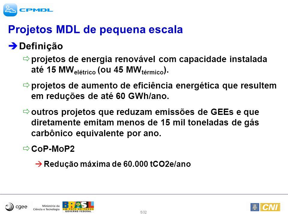 5/32 Projetos MDL de pequena escala Definição projetos de energia renovável com capacidade instalada até 15 MW elétrico (ou 45 MW térmico ). projetos