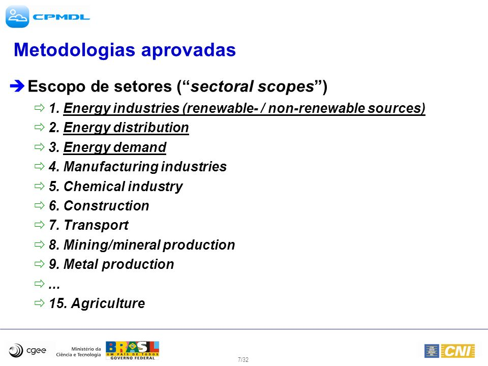 7/32 Metodologias aprovadas Escopo de setores (sectoral scopes) 1. Energy industries (renewable- / non-renewable sources) 2. Energy distribution 3. En