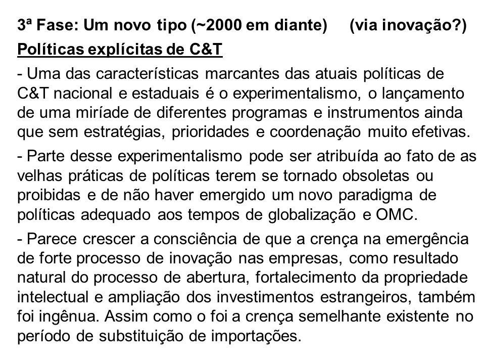 3ª Fase: Um novo tipo (~2000 em diante) (via inovação?) Políticas explícitas de C&T - Uma das características marcantes das atuais políticas de C&T na