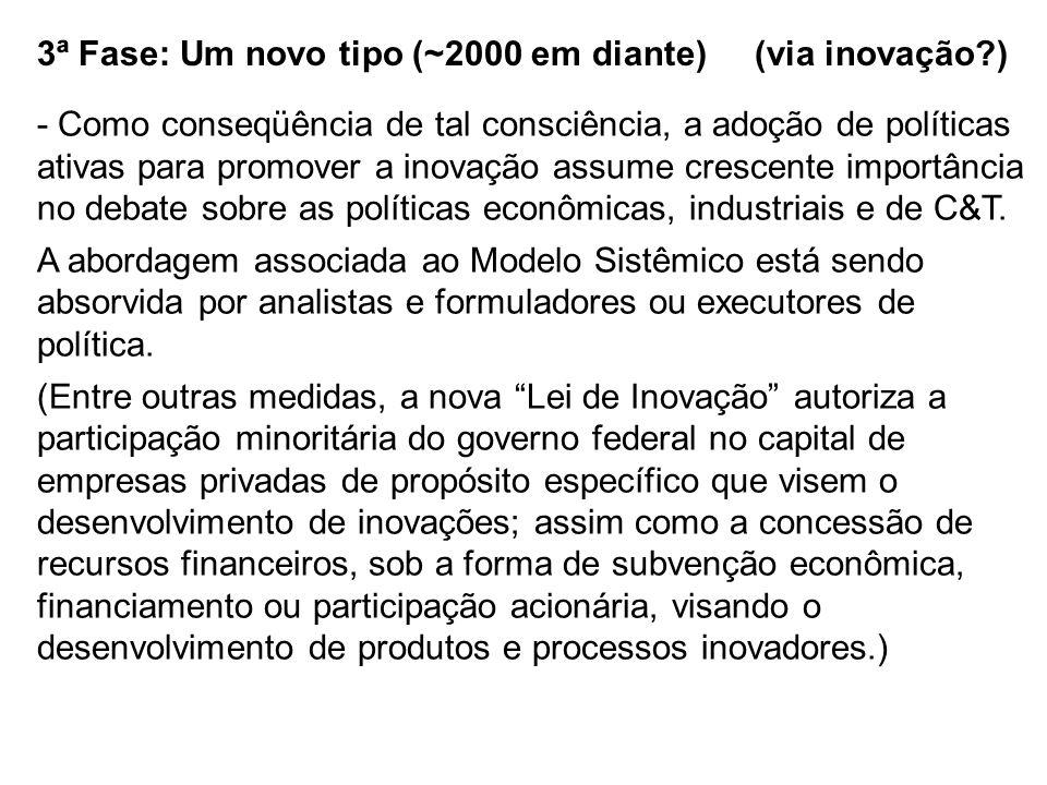 3ª Fase: Um novo tipo (~2000 em diante) (via inovação?) - Como conseqüência de tal consciência, a adoção de políticas ativas para promover a inovação