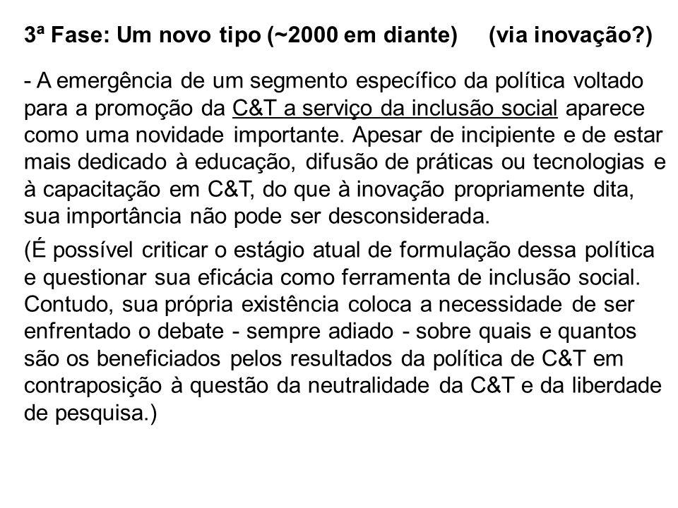 3ª Fase: Um novo tipo (~2000 em diante) (via inovação?) - A emergência de um segmento específico da política voltado para a promoção da C&T a serviço