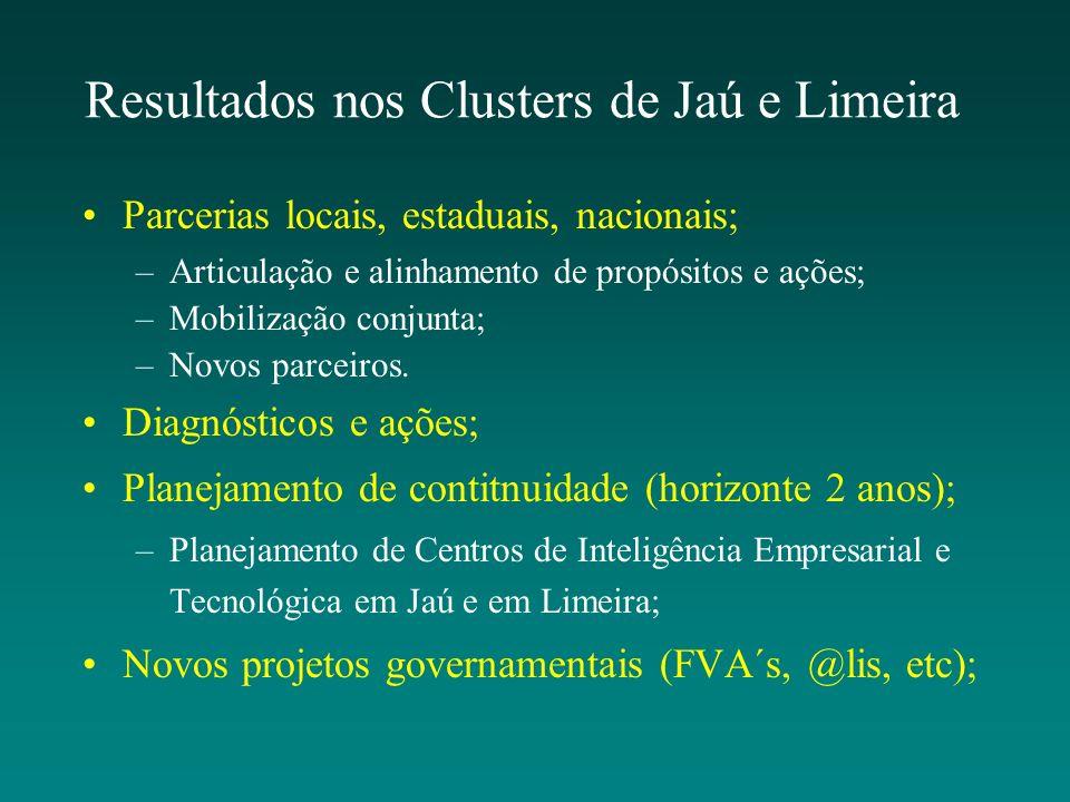 Resultados nos Clusters de Jaú e Limeira Parcerias locais, estaduais, nacionais; –Articulação e alinhamento de propósitos e ações; –Mobilização conjun