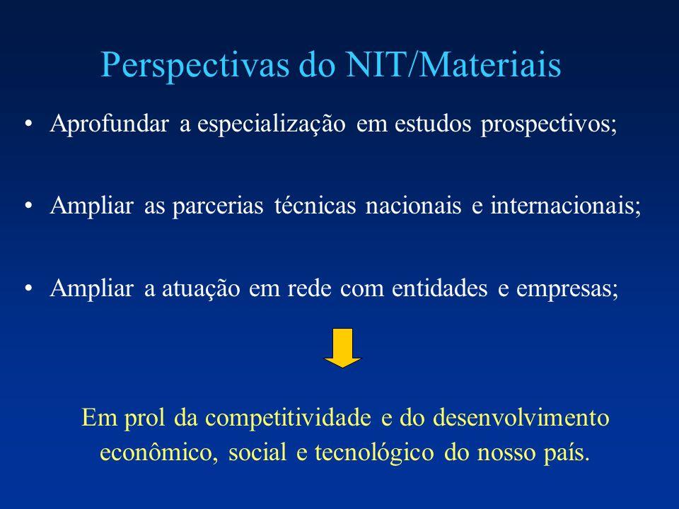 Perspectivas do NIT/Materiais Aprofundar a especialização em estudos prospectivos; Ampliar as parcerias técnicas nacionais e internacionais; Ampliar a