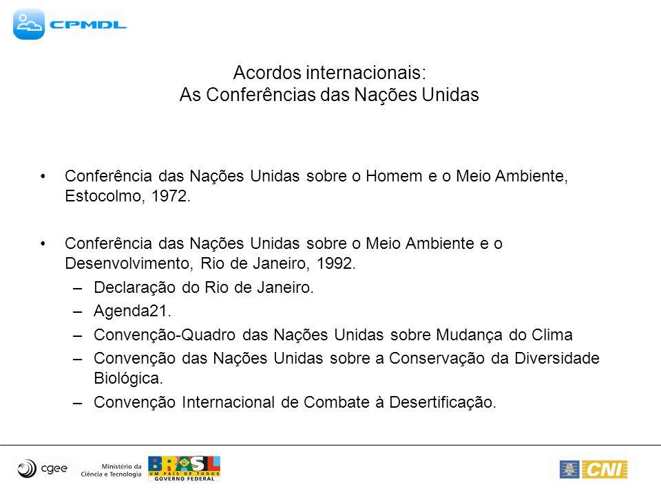 Acordos internacionais: As Conferências das Nações Unidas Conferência das Nações Unidas sobre o Homem e o Meio Ambiente, Estocolmo, 1972. Conferência
