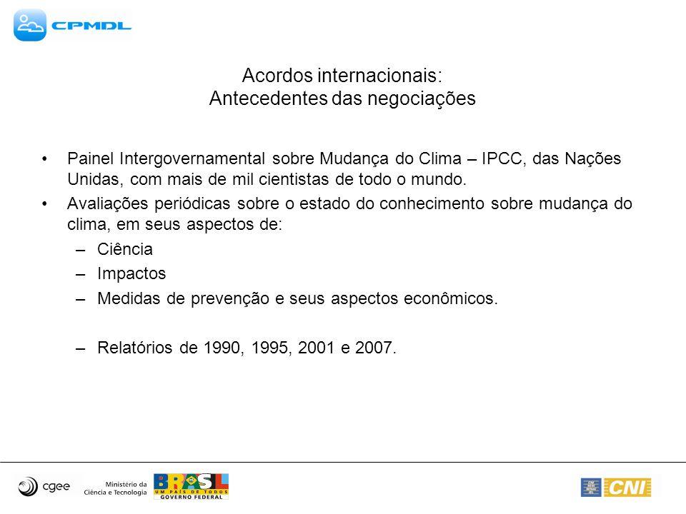 Acordos internacionais: Antecedentes das negociações Painel Intergovernamental sobre Mudança do Clima – IPCC, das Nações Unidas, com mais de mil cient