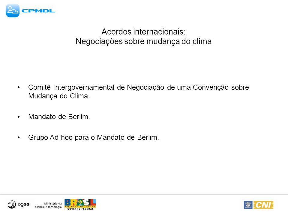 Acordos internacionais: Negociações sobre mudança do clima Comitê Intergovernamental de Negociação de uma Convenção sobre Mudança do Clima. Mandato de