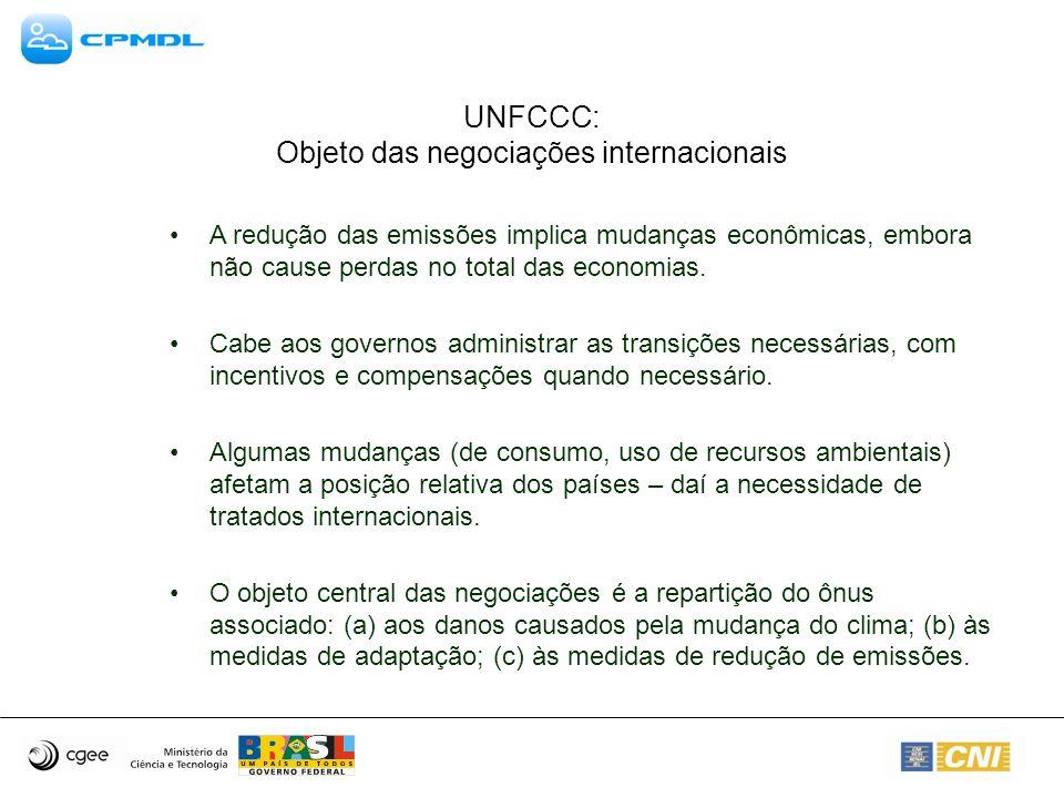 UNFCCC: Objeto das negociações internacionais A redução das emissões implica mudanças econômicas, embora não cause perdas no total das economias. Cabe