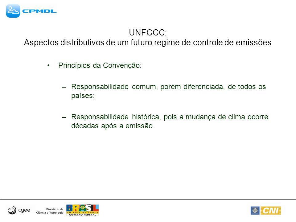 UNFCCC: Aspectos distributivos de um futuro regime de controle de emissões Princípios da Convenção: –Responsabilidade comum, porém diferenciada, de to