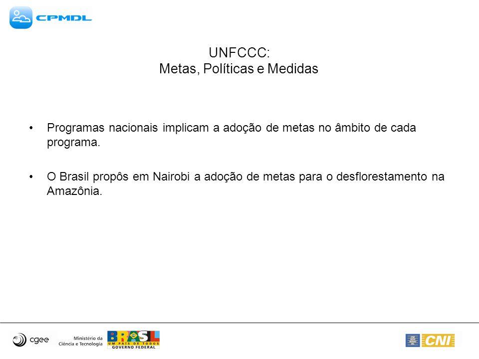 UNFCCC: Metas, Políticas e Medidas Programas nacionais implicam a adoção de metas no âmbito de cada programa. O Brasil propôs em Nairobi a adoção de m