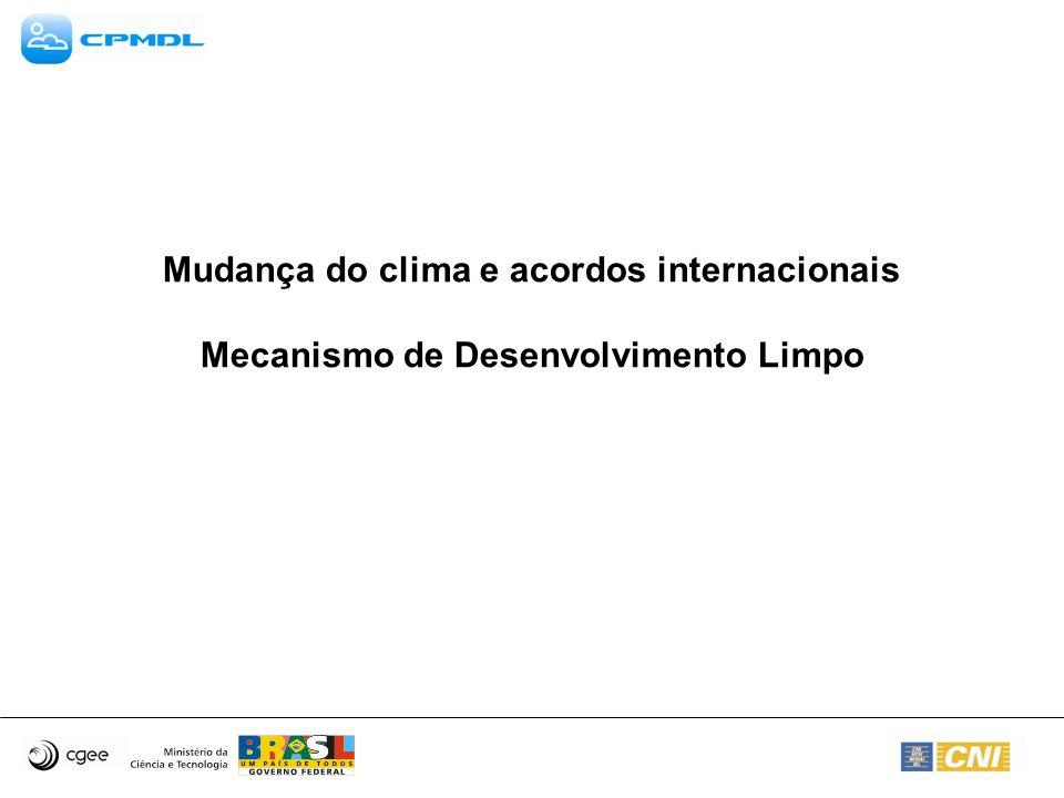 Mudança do clima e acordos internacionais Mecanismo de Desenvolvimento Limpo
