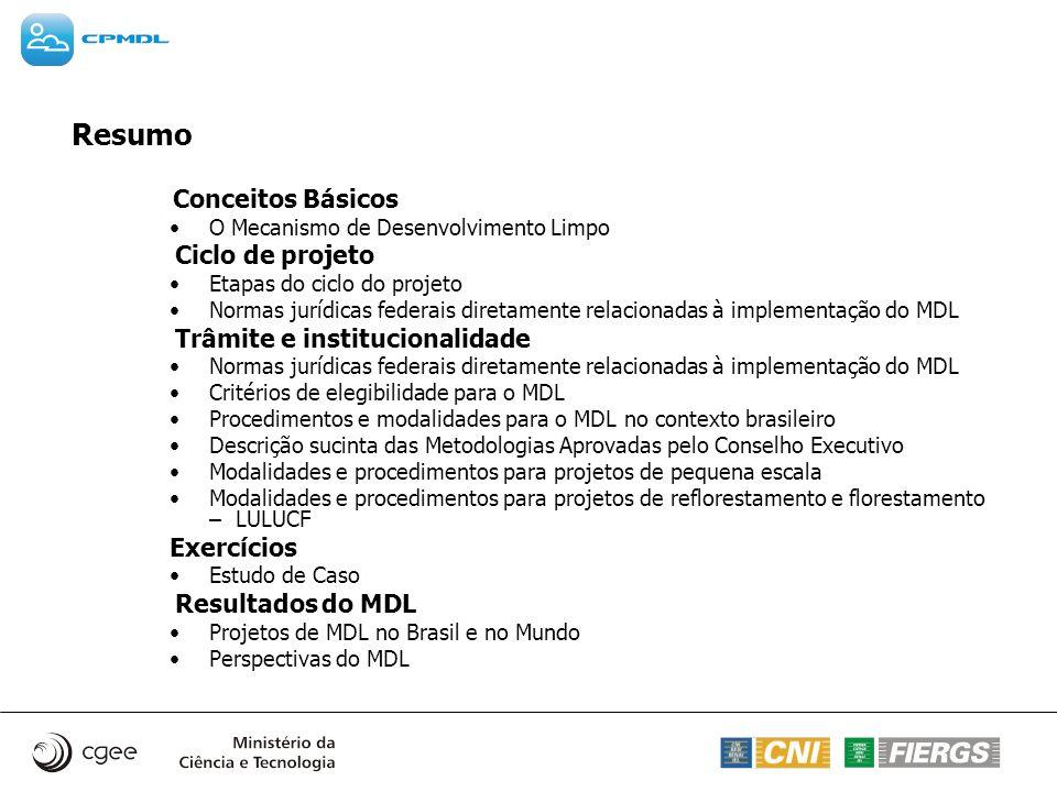 Conceitos Básicos O Mecanismo de Desenvolvimento Limpo Ciclo de projeto Etapas do ciclo do projeto Normas jurídicas federais diretamente relacionadas