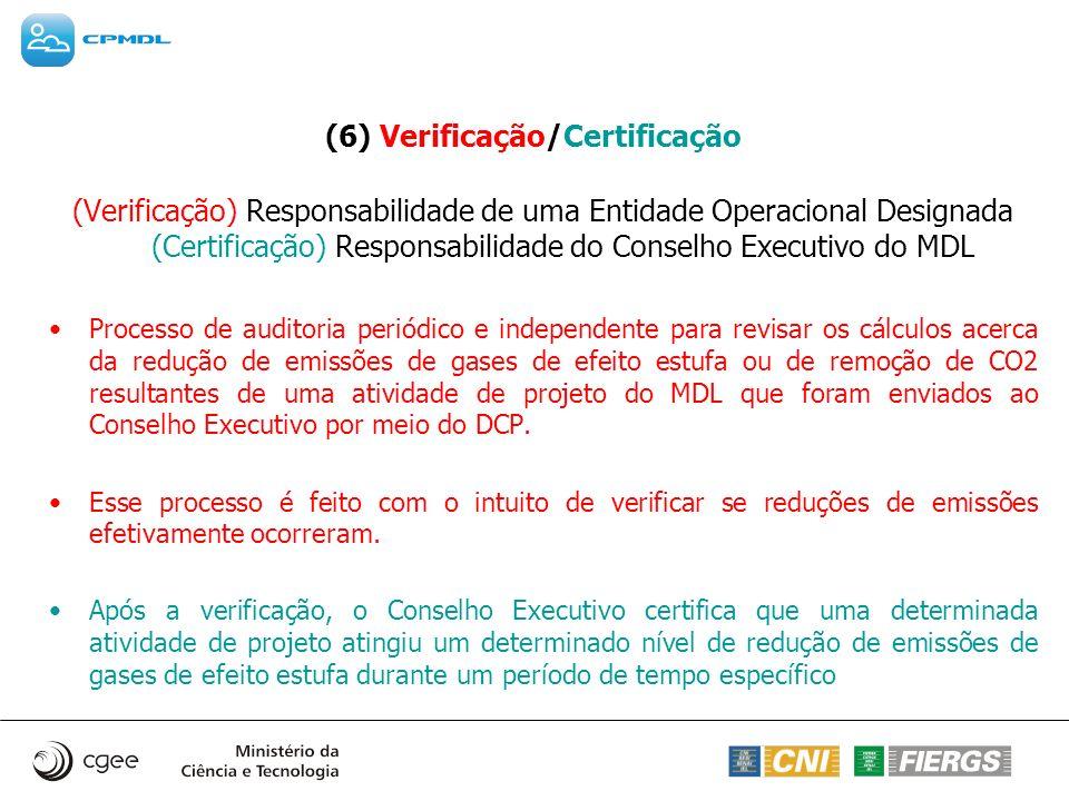 (6) Verificação/Certificação (Verificação) Responsabilidade de uma Entidade Operacional Designada (Certificação) Responsabilidade do Conselho Executiv