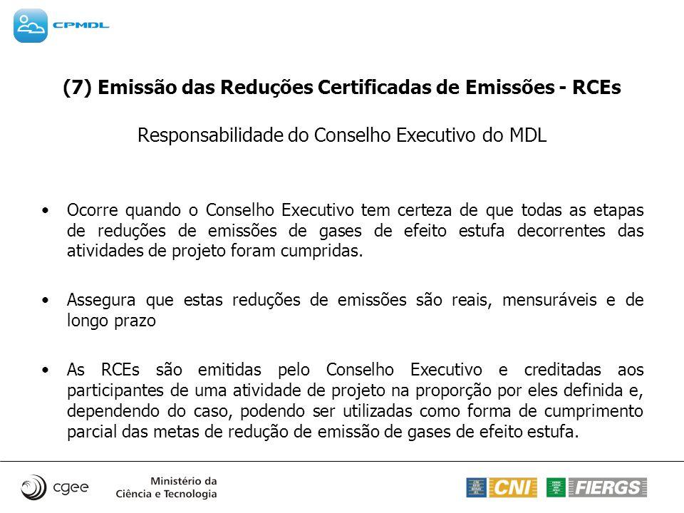 (7) Emissão das Reduções Certificadas de Emissões - RCEs Responsabilidade do Conselho Executivo do MDL Ocorre quando o Conselho Executivo tem certeza