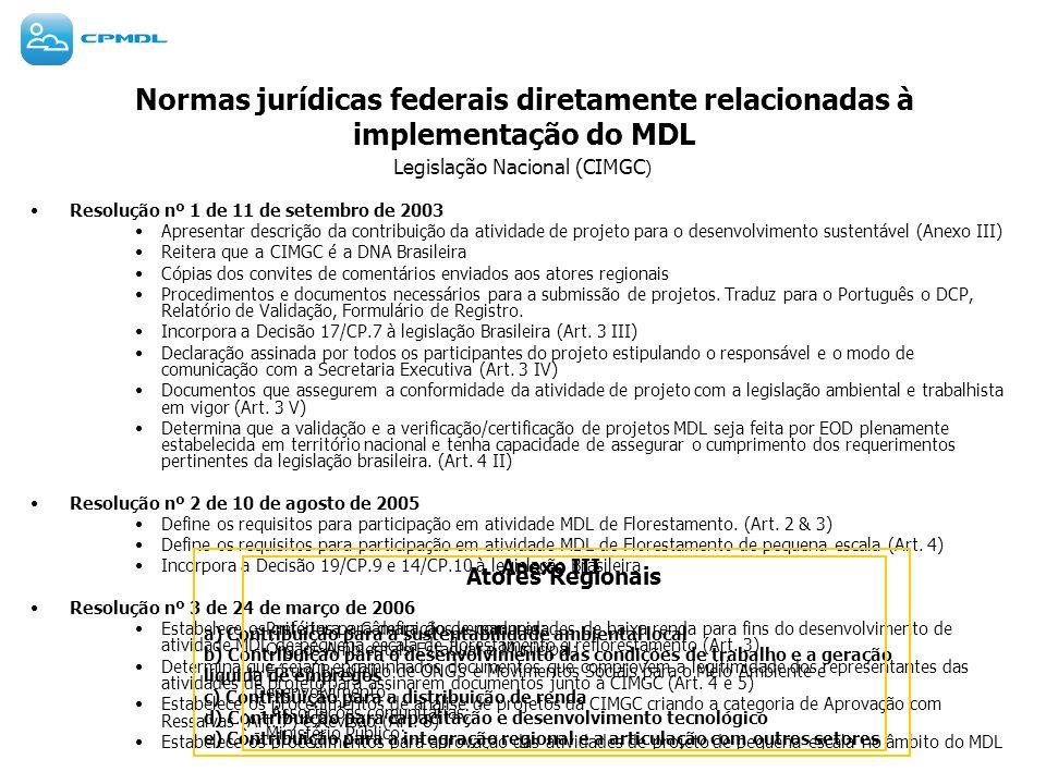 Normas jurídicas federais diretamente relacionadas à implementação do MDL Legislação Nacional (CIMGC ) Resolução nº 1 de 11 de setembro de 2003 Aprese