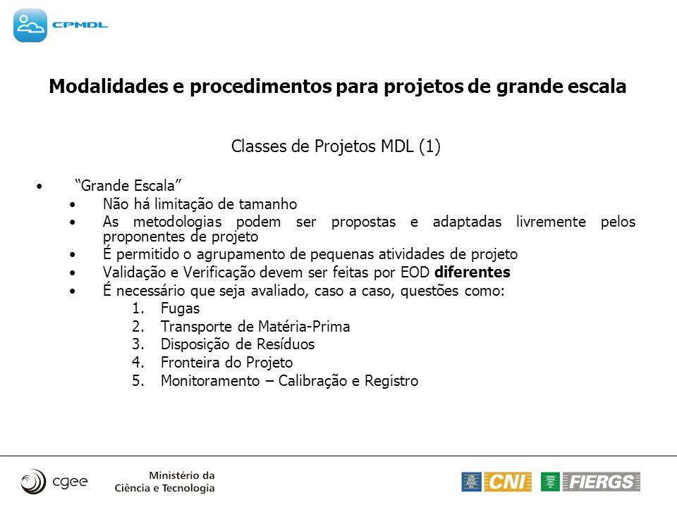 Modalidades e procedimentos para projetos de grande escala Classes de Projetos MDL (1) Grande Escala Não há limitação de tamanho As metodologias podem