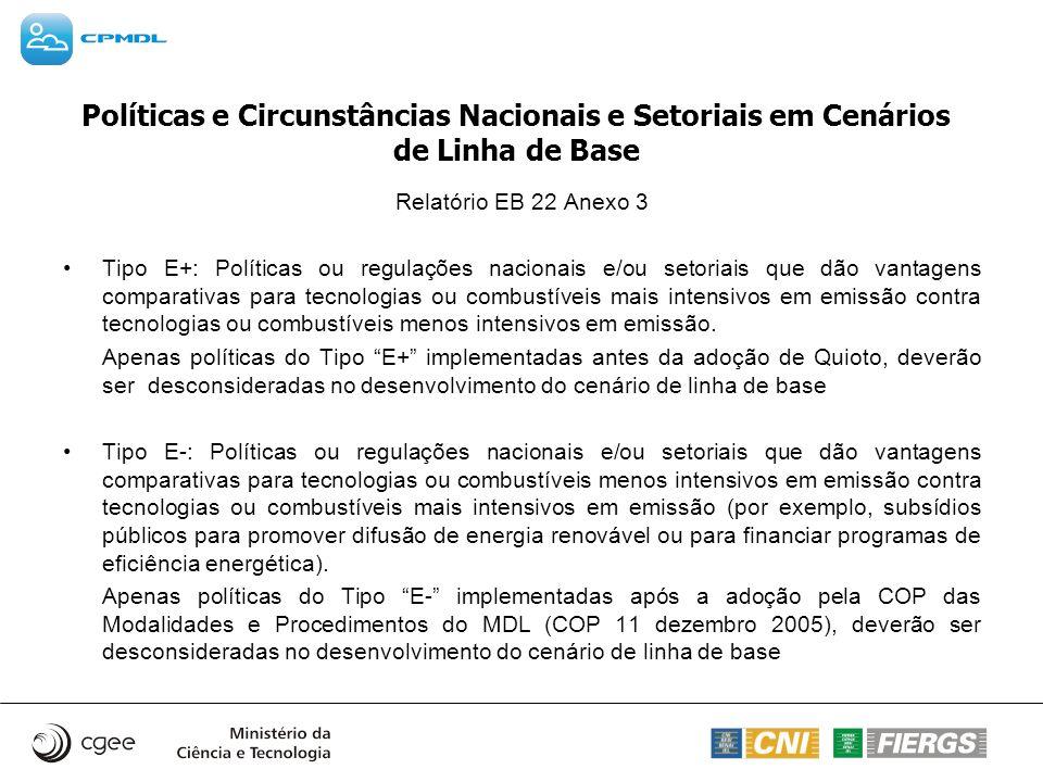 Políticas e Circunstâncias Nacionais e Setoriais em Cenários de Linha de Base Relatório EB 22 Anexo 3 Tipo E+: Políticas ou regulações nacionais e/ou