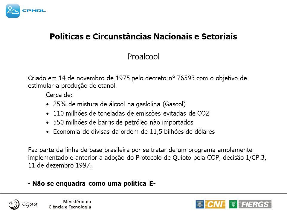 Políticas e Circunstâncias Nacionais e Setoriais Proalcool Criado em 14 de novembro de 1975 pelo decreto n° 76593 com o objetivo de estimular a produç