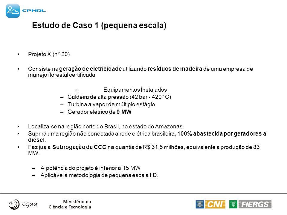 Estudo de Caso 1 (pequena escala) Projeto X (n° 20) Consiste na geração de eletricidade utilizando resíduos de madeira de uma empresa de manejo flores