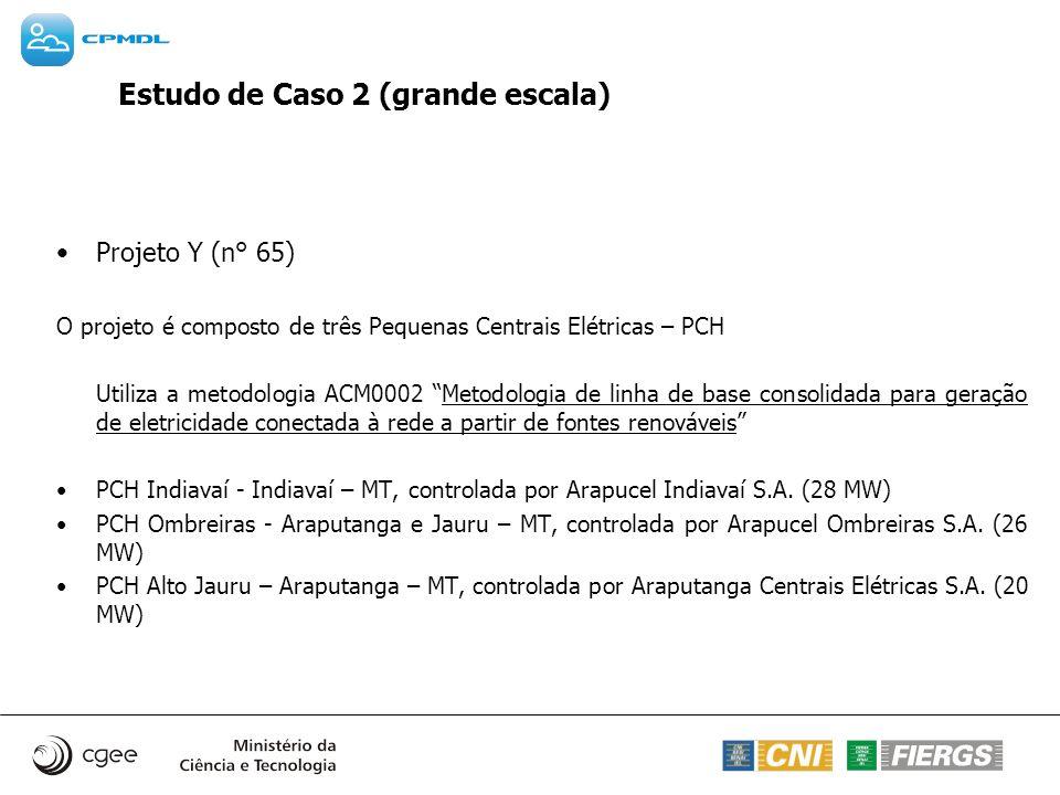 Estudo de Caso 2 (grande escala) Projeto Y (n° 65) O projeto é composto de três Pequenas Centrais Elétricas – PCH Utiliza a metodologia ACM0002 Metodo