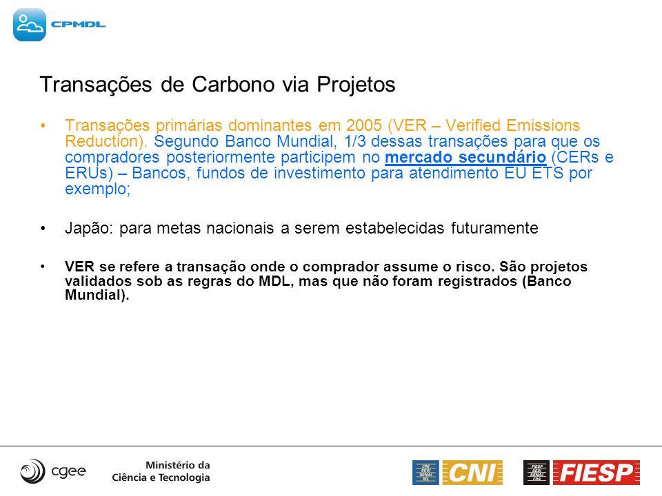 Transações de Carbono via Projetos Transações primárias dominantes em 2005 (VER – Verified Emissions Reduction). Segundo Banco Mundial, 1/3 dessas tra