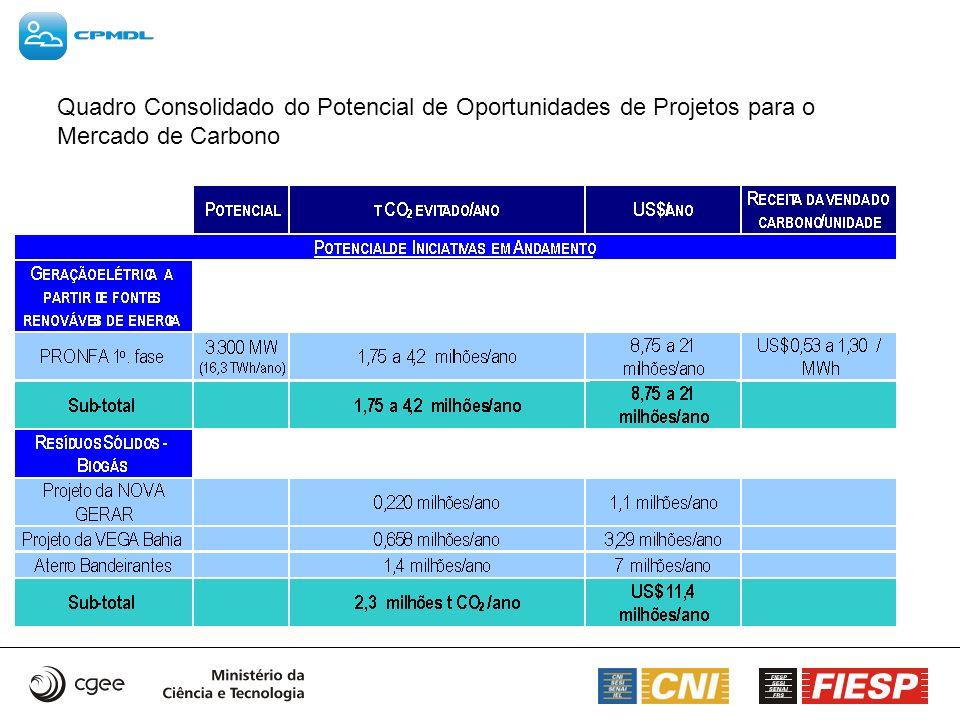 Quadro Consolidado do Potencial de Oportunidades de Projetos para o Mercado de Carbono