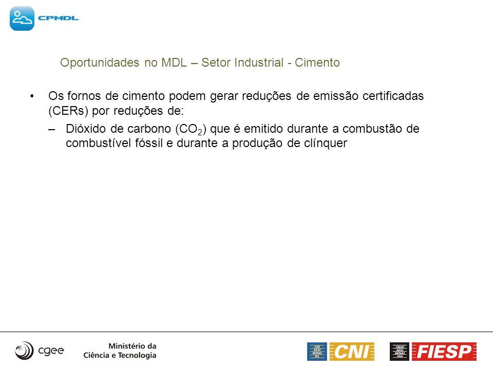 Os fornos de cimento podem gerar reduções de emissão certificadas (CERs) por reduções de: –Dióxido de carbono (CO 2 ) que é emitido durante a combustã