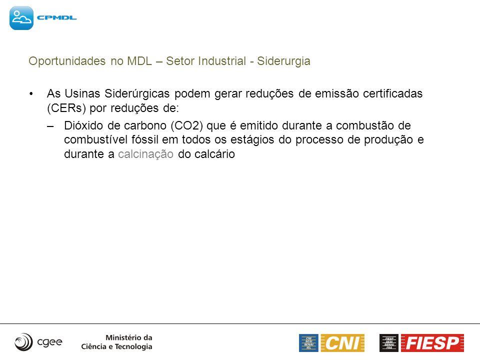 As Usinas Siderúrgicas podem gerar reduções de emissão certificadas (CERs) por reduções de: –Dióxido de carbono (CO2) que é emitido durante a combustã