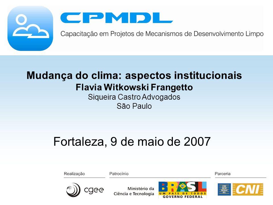 Mudança do clima: aspectos institucionais Flavia Witkowski Frangetto Siqueira Castro Advogados São Paulo Fortaleza, 9 de maio de 2007