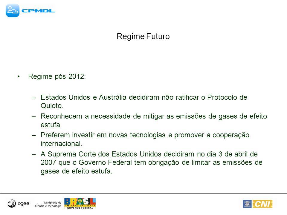 Regime Futuro Regime pós-2012: –Estados Unidos e Austrália decidiram não ratificar o Protocolo de Quioto.