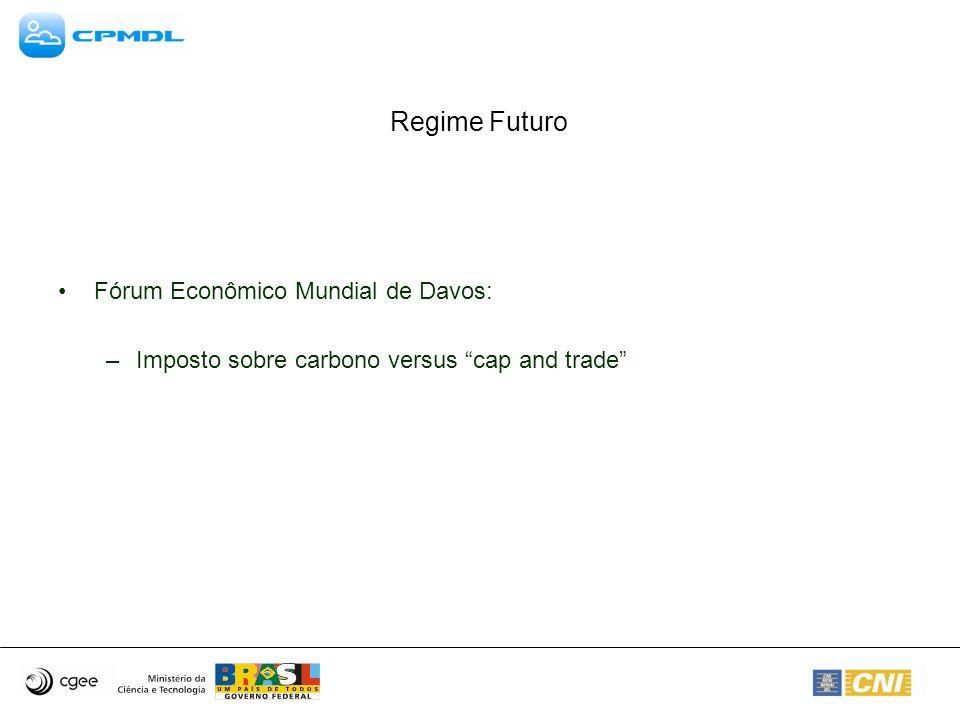 Regime Futuro Fórum Econômico Mundial de Davos: –Imposto sobre carbono versus cap and trade
