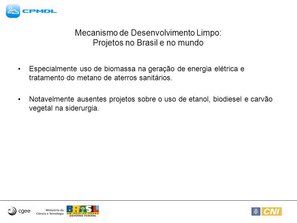 Mecanismo de Desenvolvimento Limpo: Projetos no Brasil e no mundo Especialmente uso de biomassa na geração de energia elétrica e tratamento do metano de aterros sanitários.