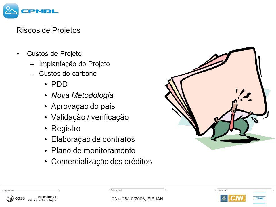 Riscos de Projetos Custos de Projeto –Implantação do Projeto –Custos do carbono PDD Nova Metodologia Aprovação do país Validação / verificação Registro Elaboração de contratos Plano de monitoramento Comercialização dos créditos